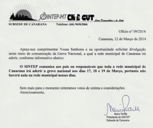 Ofício Sintep -  12.03.14